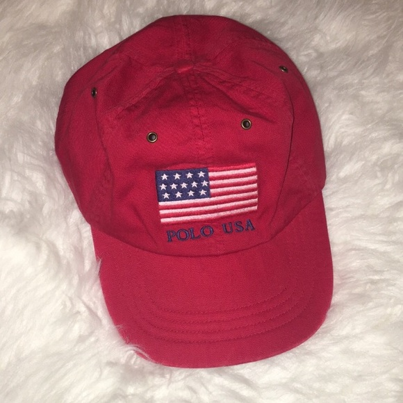 03e1348352283 NWT Polo by Ralph Lauren Red American Flag Hat🇺🇸
